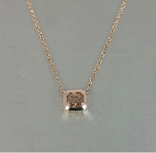 14K Rose Gold Champagne Diamond Necklace 0.55ct