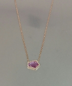14 Karat Rose Gold Pink Sapphire Diamond Necklace