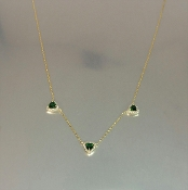 14 Karat Yellow Gold Green Tourmaline Diamond Necklace