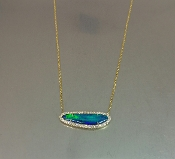 14 Karat Yellow Gold Opal Diamond Necklace