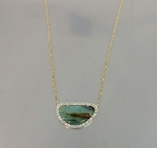 14 Karat Yellow Gold Peruvian Opal Diamond Necklace
