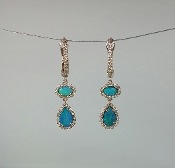 14 Karat Gold Gold Opal Diamond Earrings