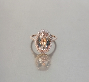 14 Karat Rose Gold Morganite Diamond Ring (3.9/0.35ct)