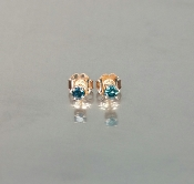 14 Karat Rose Gold Blue Diamond Earrings (0.20ct)