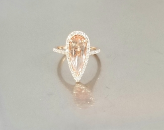14 Karat Rose Gold Morganite Diamond Ring (2.45/0.33ct)