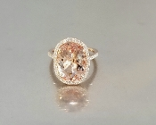 14 Karat Rose Gold Morganite Diamond Ring (5.08/0.35ctct)