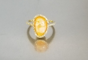 14 Karat Yellow Gold Mexican Fire Opal Dia. Ring (2.50/0.20ct)