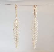 14 Karat Rose Gold Diamond Feather Earrings (1.0ct)