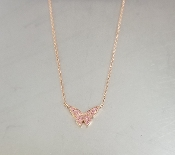 14 Karat Rose Gold Pink Sapphire Butterfly Necklace (0.11ct)
