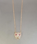 14KR Gold Diamond/Ruby Panther Necklace  (0.61ct/0.09ct)