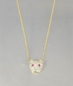 14KY Gold Diamond/Ruby Panther Necklace (0.61ct/0.09ct)