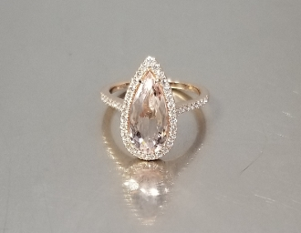 14 Karat Rose Gold Morganite Diamond Ring (2.08/0.31ct)