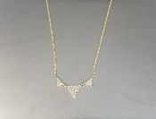 14 Karat Yellow Gold Triple Triangle Diamond Necklace (0.20ct)