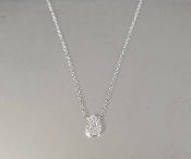 14 Karat White Gold Diamond Teardrop Necklace (0.06ct)