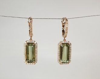 14 Karat Yellow Gold Green Tourmaline Dia. Earrings (7.1/0.42ct)
