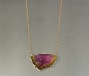 14 Karat Rose Gold Watermelon Tour. Diamond Necklace (8.71/0.10)
