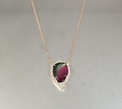 14 Karat Rose Gold Watermelon Tour. Dia. Necklace (2.43/0.22ct)