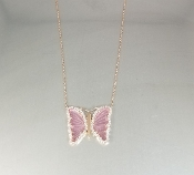 14K Rose Gold Watermelon Tour. Diamond Butterfly Necklace