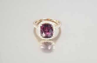14 karat Rose Gold Pink Tourmaline Diamond Ring (3.51/0.32ct)