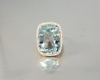 14 Karat Rose Gold Aquamarine Diamond Ring (20.70/0.65ct)