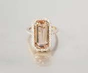 14 Karat Rose Gold Morganite Diamond Ring (5.1/0.35ct)