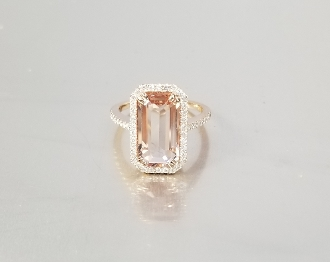 14 Karat Rose Gold Morganite Diamond Ring (3.69/0.33ct)