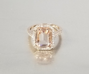 14 Karat Rose Gold Morganite Diamond Ring (3.82/0.30ct)