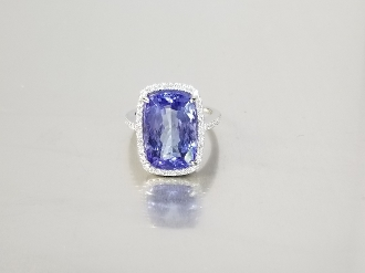 14 Karat White Gold Tanzanite Diamond-R (9.89ct/0.35ct)