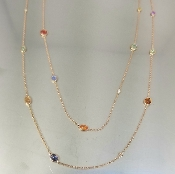 14 Karat Rose Gold Color Sapphire Diamond Long Necklace