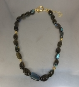 14 Karat Yellow Gold Labradorite Diamond Necklace