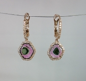 14  Karat Rose Gold Watermelon Tourmaline Diamond Earrings