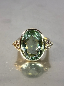 14 Karat Yellow Gold Green Amethyst Champagne Diamond Ring