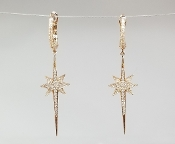 14 Karat Rose Gold Diamond North Star Dangling Earrings