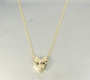 14 Karat Yellow Gold Black Diamond Fox Necklace
