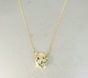 14 Karat Yellow Gold Black Diamond Panther Necklace