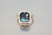 14 Karat Rose Gold Labradorite Diamond Ring (0.30ct)
