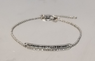 14 Karat White Gold Black Diamond Bracelet (0.10ct)