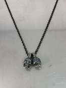 Blue Diamond Evil Twins Skull Necklace (0.12ct) (Silver/Oxi)