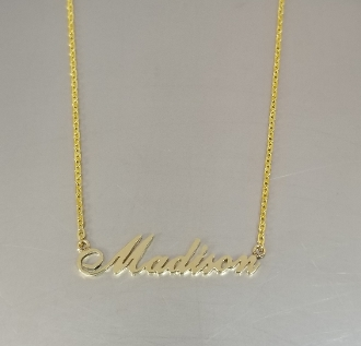14 Karat Yellow Gold Custom Cut Out Name Necklace