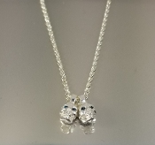 Blue Diamond Evil Twins Skull Necklace (0.12ct)