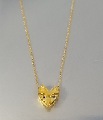 Black Diamond Fox Necklace (18KGP)