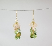 Watermelon tourmaline Multi Drop Earrings