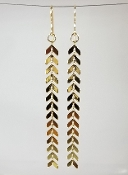 Chevron Links Long Earrings (18KGP)