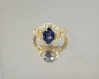 14K Yellow Gold Blue Sapphire Diamond Ring (1.88ct/.45ct)