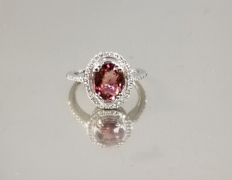 14K White Gold Pink Tourmaline Diamond Ring (1.87ct/.23ct)
