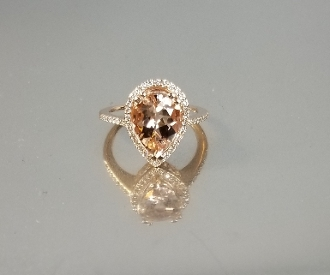 14K Rose Gold Morganite Diamond Ring (2.73ct/.26ct)
