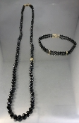 14 Karat Yellow Gold Black Diamond Beads Necklace (100ct)
