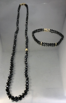 14 Karat Yellow Gold Black Diamond Beads Necklace (80ct)