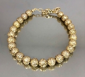 14 Karat Yellow Gold Pave Diamond Ball bracelet