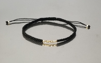 14 Karat Yellow Gold Disco Ball Bead Macrame Bracelet (black)